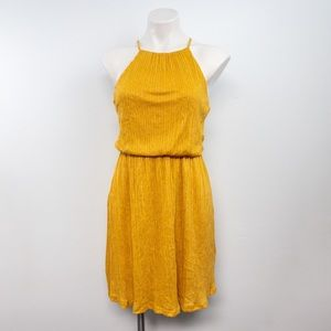 Lush Halter Neck Plisse Dress Mustard Crepe size S